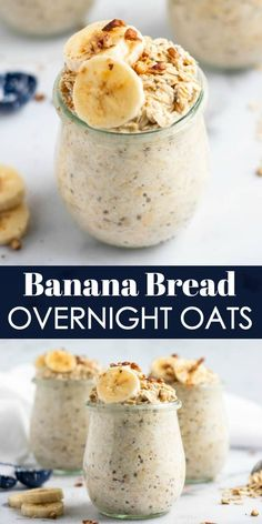 Just like banana bread straight from the oven, but with barely any effort, these Banana Bread Overnight Oats are breakfast you can wake up to--literally, because they are waiting for you in the morning! Food Recipes For Dinner, Food Recipes Deserts Healthy Breakfast Recipes, Healthy Drinks, Healthy Recipes, Vegan Oats Breakfast, Nutrition Drinks, Meal Prep Breakfast, Healthy Breakfast On The Go, Breakfast Casserole, Overnight Oats