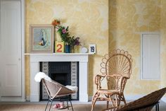 Farrow & Ball launches whimsical wallpaper at Anthropologie - Curbed Modern Wallpaper Designs, Contemporary Wallpaper, Designer Wallpaper, Wood Effect Wallpaper, Bold Wallpaper, Wallpaper Ideas, Farrow Ball, Lotus Flower Wallpaper, Flower Power