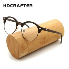 42461254536 HDCRAFTER Retro Round Eyeglasses Frames Men Women Wooden Fashion Myopia Glasses  Frame with Clear Lens Computer Reading Glass Review