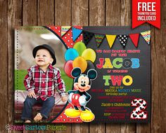 Mickey Mouse Invitation Mickey Mouse Photo by SweetCartoonPaperie