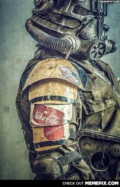 Best Fallout art I've seen in a long time. Nuka Cola branded power armor, for those long treks through the wasteland.