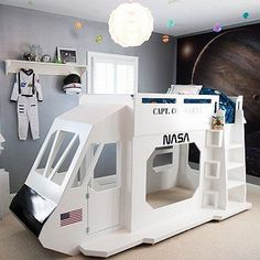 Fun Kid's Space Themed Bedroom Design Ideas. Find and save ideas about Space theme bedroom in this article. Bedroom Themes, Kids Bedroom, Bedroom Decor, Bedroom Ideas, Space Theme Bedroom, Kids Rooms, Boy Bedrooms, Bedroom Night, Bed Ideas