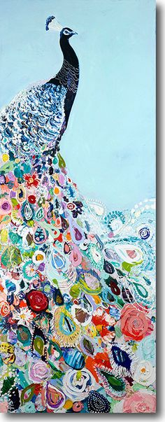 "Unique & Affordable Artwork¦Selling Art like Starla Michelle Halfmann's ""Floral Peacock"" Responsibly Painting Inspiration, Art Inspo, Bd Art, Peacock Art, Peacock Painting, Peacock Blue, Art Plastique, Love Art, Painting & Drawing"