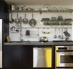 5 Simple and Stylish Ideas: Galley Kitchen Remodel Ikea farmhouse kitchen remodel Kitchen Remodel Inspiration small kitchen remodel design. Kitchen Utensil Rack, Ikea Grundtal Kitchen, Stainless Steel Kitchen Shelves, Kitchen Shelves, Kitchen Remodel Inspiration, Kitchen Remodel Small, Kitchen Wall Shelves, Trendy Kitchen, Ikea Kitchen