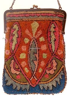 BEAUTIFUL 1920's ANTIQUE ART DECO, EGYPTIAN REVIVAL GLASS BEADED PURSE - another design I spiration