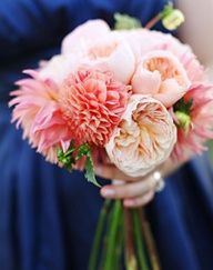 Peony and dahlia bridesmaids bouquet.