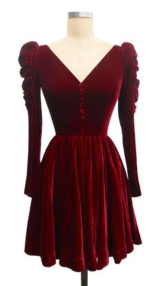 Candice Gwinn Victorian Mini Dress | Vintage Inspired Dress | Wine Silk Velvet
