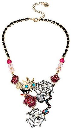 Sassyway.com - Betsey Johnson Creepshow Owl Spiderweb Necklace #Victorian #steampunk