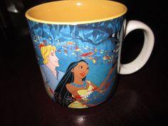 RARE Disney Vintage Princess Pocahontas John Smith Coffee Mug Ceramic Porcelain  $15