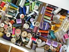 Rayon embroidery threads that  Nancy Nichols uses in her textile and embroidery work