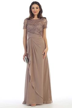 Mother of Bride Dress FT15018. Full Length A-Line Mother of the Bride Evening Dress has Lace Bodice with Bateau Neckline and Half Length Sleeves, Solid Color Long Skirt with Softly Gathered Waistline and Ruffle Overlay Detail. https://www.smcfashion.com/wholesale-mother-of-bride-dresses/mother-of-bride-dress-ft15018