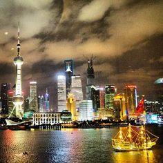 #Shanghai's colorful skyline.