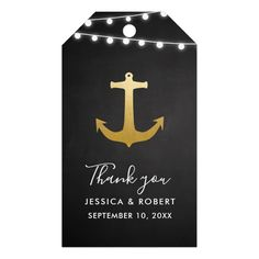 Chalkboard Faux Gold Foil Anchor Wedding Thank You Gift Tags #gold #wedding #craft #craftsupplies #diy #brides #bridal