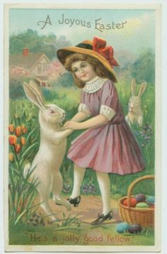 ANTIQUE EASTER POSTCARD - GIRL DANCING WITH BUNNY