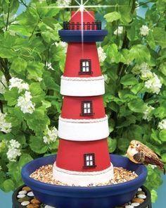 Clay Pot Lighthouse DIY Bird Feeder