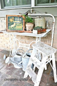 This has been the week to finally share my outside spaces. Earlier in the week I posted my front porch that's in . Old Gates, Old Wicker, Back Porches, Common Ground, French Country Cottage, Garden Shop, Old Doors, Patio Design, Chair Cushions