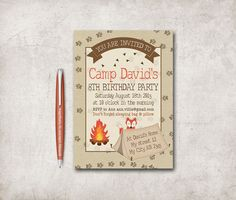 Camping Invitation Printable, Sleepover Birthday, Outdoor Invitation, Digital File - Camping Birthday Invitation - pinned by pin4etsy.com