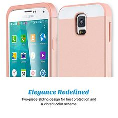 S5 Galaxy S5 Case,BENTOBEN Samsung Galaxy S5 Case Card Slot Hybrid Dual Layer Protective Case Cover (Plastic Hard Shell and Flexible TPU) Shock-Absorption Slim Case for Galaxy S5 Rose Gold/Rose Gold
