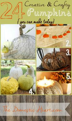 24 DIY Creative Pumpkins from TheDomesticHeart.com
