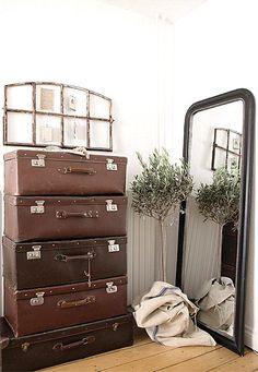 Stacked Leather Luggage - what a great collection - via Cute Pink Stuff:  JEANNE D'ARC LIVING MAGAZINE (OCTOBER/9TH EDITION 2012)