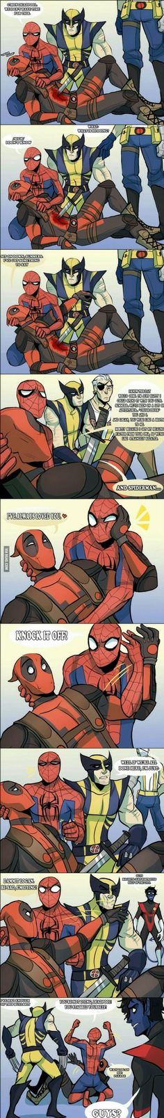 "Pahaha! Freaking Deadpool. He's so emotional and Spiderman is all ""OK, put your feelings away and let's go."""