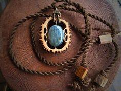 Nature jewelry/wooden pendant/ labradorite by OKAVARKpendants