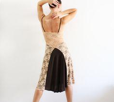 Milonga Tango Vestito Pizzo Caramello e maglina di CrinolinAtelier