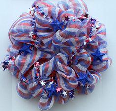 Fourth of July mesh wreath by MyRedDoorShop on Etsy. $72.00, via Etsy.