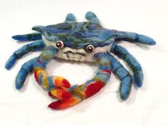 Needle Felted Bluecrab by lauraclyons on Etsy
