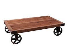 Mesa de centro con ruedas en madera de olmo