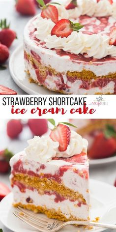 This Strawberry Shortcake Ice Cream Cake is a showstopping strawberry dessert! M… This Strawberry Shortcake Ice Cream Cake is a showstopping strawberry dessert! Made with shortbread cookies, ice cream, and homemade strawberry sauce. Ice Cream Desserts, Mini Desserts, Frozen Desserts, Ice Cream Recipes, Easy Desserts, Delicious Desserts, Ice Cream Cakes, Ice Cream Cookie Cake, Frozen Strawberry Desserts