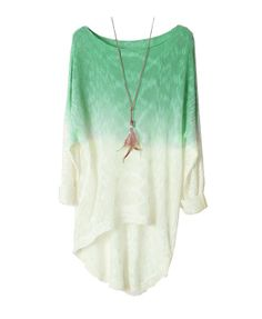 Batwing Sleeves Dip Dye Pullover with Dovetail in Green