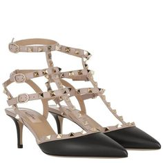 Valentino Pumps - Rockstud Ankle Strap Pump Nero/Poudre - in beige,... ($750) ❤ liked on Polyvore featuring shoes, pumps, black ankle strap pumps, ankle strap shoes, black stilettos, black leather pumps and leather pumps