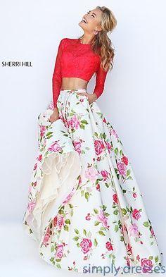 Sherri Hill Two Piece Floral Print Open Back Dress