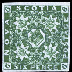 Sello: Crown and flowers emblematic (Nueva Escocia) (Pence Issue) Mi:CA-NS 5 Stamp Collecting, Nova Scotia, Postage Stamps, 20 Pence, Crown, Gates, Postcards, Flowers, Doors