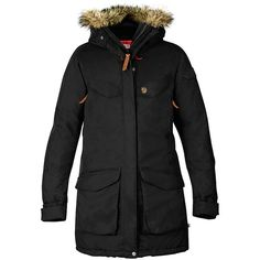 Fjallraven Womens Nuuk Parka (£410) ❤ liked on Polyvore featuring outerwear, coats, black, waterproof coat, fjällräven, parka coats, fjallraven parka and fleece lined coat
