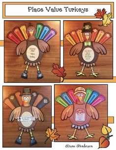 "Pace Value Activities: Super-cute place value turkey craft. Completed projects make an amazing bulletin board or hallway display, with that ""Wow!"" factor. Younger students can make a one or two-digit value turkey, while older students can create a 3 or 4-digit value turkey. Comes with worksheets that show the math.  What a fun way to practice place value! :-)"