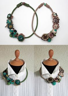 Handmade crochet necklaces with fabric buttons OOAK by rRradionica