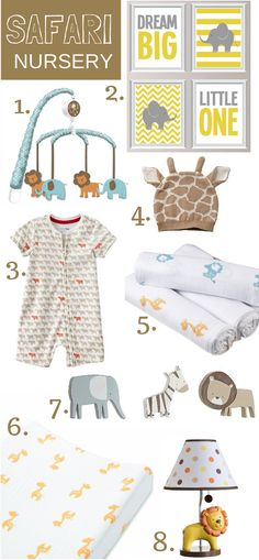 Our favorite things for a safari nursery theme featuring adorable items from @aden + anais @Carter's Babies and Kids @Etsy