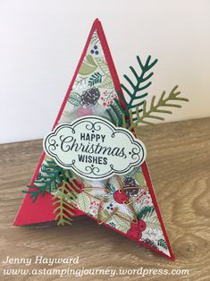 Create a fun Christmas Pyramid card with a video and step by step instructions. This one is using the Flourish Filigree stamp set and the Pretty Pines Thinlits. Happy Christmas Wishes, Create Christmas Cards, Homemade Christmas Cards, Xmas Cards, Handmade Christmas, Holiday Cards, Christmas Crafts, Fun Fold Cards, Pop Up Cards