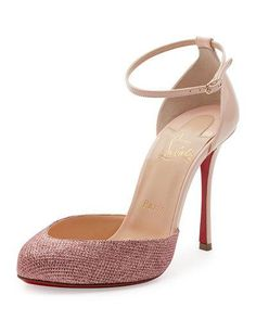 X3E1A Christian Louboutin Dollyla Glitter & Patent 100mm Red Sole Pump, Poudre