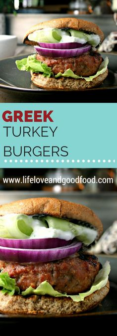 These grilled Greek Turkey Burgers are so flavorful and juicy you'll forget that they are actually healthy, too! Seasoned with Feta cheese and Greek spices. Turkey Dishes, Turkey Recipes, Easy Dinner Recipes, Summer Recipes, Greek Spices, Greek Turkey Burgers, Beste Burger, Grilled Turkey, Sandwiches