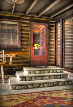 44 Rural Farmhouse Porch Steps Decor Ideas - Page 16 of 46 Cabin Homes, Log Homes, Future House, My House, Porch Steps, Garage Steps, Cabins And Cottages, Log Cabins, Cabins In The Woods
