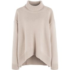 Dipped Hem Turtleneck Sweater (€16) ❤ liked on Polyvore featuring tops, sweaters, shirts, jumpers, pink shirt, pink jumper, turtle neck shirt, long-sleeve shirt and bunny sweater
