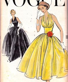 Original 1950s Evening Gowns Two Lengths Halter Top