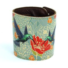 Leather cuff / wallet wristband  Hummingbirds in by tovicorrie, $32.00