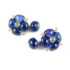 Pair of sapphire and facetted diamond bead quatrefoil cluster cufflinks by Viren Bhagat, Mumbai,