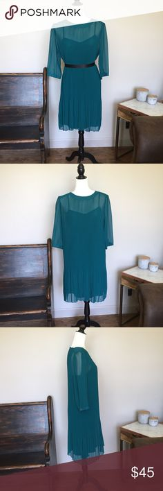 """Antonio Melani Dress Measurements:  Bust: 38"""" Waist: 38"""" Hips: 42"""" Length: 39"""" slip and shell.  Details: Does not come with a belt but has tiny loops, gorgeous color, great condition. Slip has adjustable straps.  Fabric: Shell: 100% polyester, Slip: 96% polyester and 4% spandex.  Bundle discount: 2 + items for 20% off!  Follow our store on Facebook, Twitter, Etsy and Instagram: @wingdingpop ANTONIO MELANI Dresses Long Sleeve"""