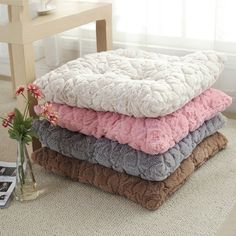 High Quality Square Winter Warm Soft Plush Chair Cushion Mat Home Office Car Solid Seat Pad Home Decor Pillow 50*50cm #Affiliate