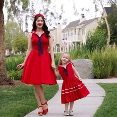 Sail into Spring with the Mommy and Me Sailor Dress and matching Rockabilly Baby Skipper Dress!
